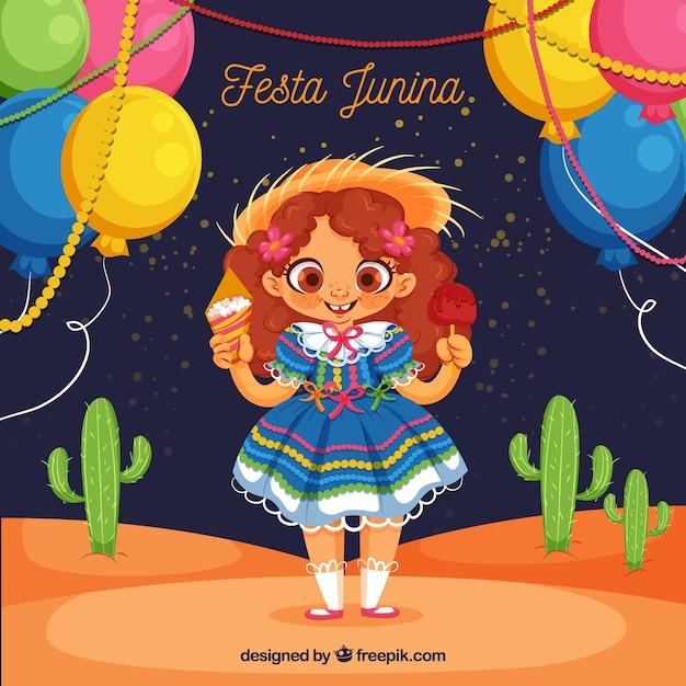 Festa junina hintergrund mit süßen mädchen Kostenlosen Vektoren