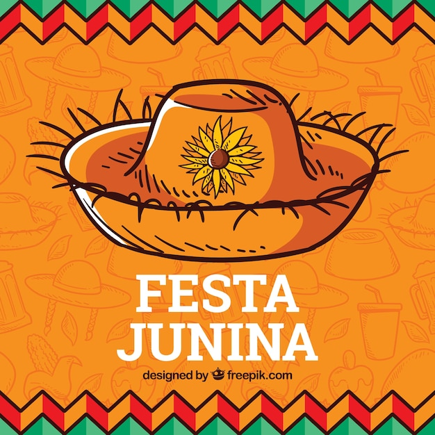 Festa junina hintergrund mit traditionellen elementen Kostenlosen Vektoren