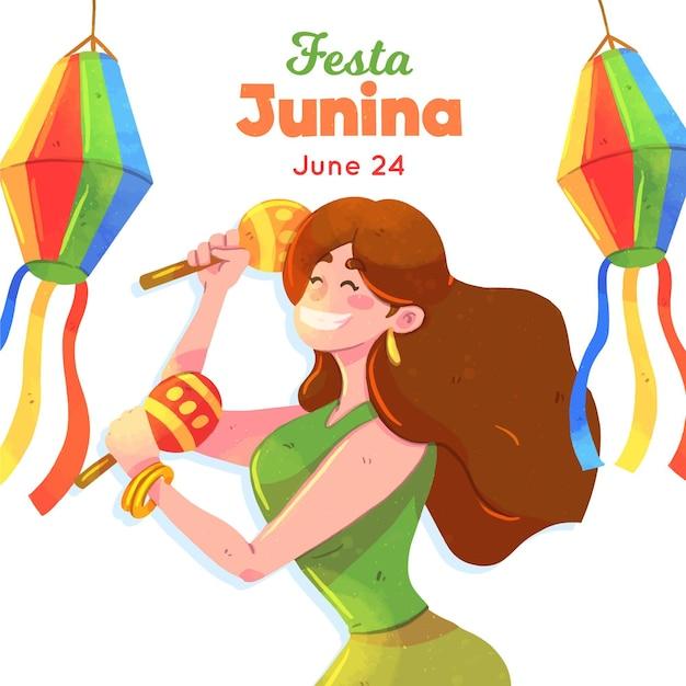 Festa junina illustration mit frau und maracas Kostenlosen Vektoren