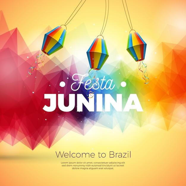 Festa junina illustration mit papierlaterne auf abstraktem hintergrund Premium Vektoren