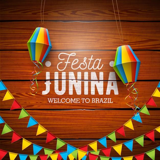 Festa junina illustration mit parteiflaggen und papierlaterne Premium Vektoren