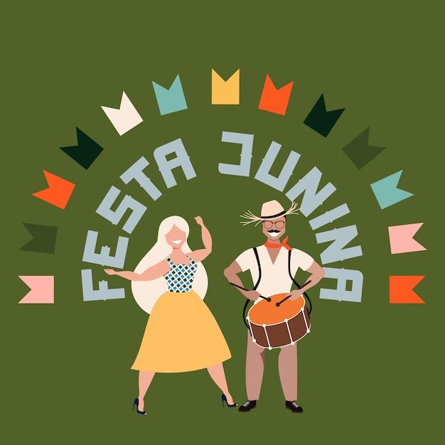 Festa junina karte. glücklicher mann und frau. große buchstaben. traditioneller brasilianischer feiertag im juni. portugiesisches sommerferienkonzept. moderne handgezeichnete illustration für web-banner und druck. Premium Vektoren