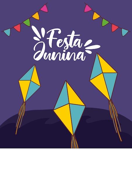 Festa junina karte mit drachen und girlanden hängen Premium Vektoren