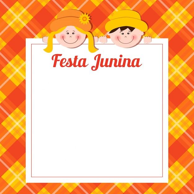 Festa junina karte mit jungen und mädchen. Premium Vektoren