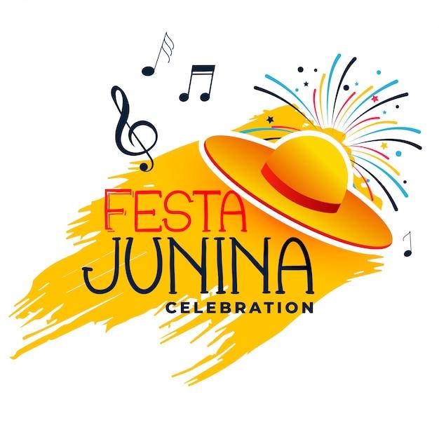 Festa junina musik und hut Kostenlosen Vektoren