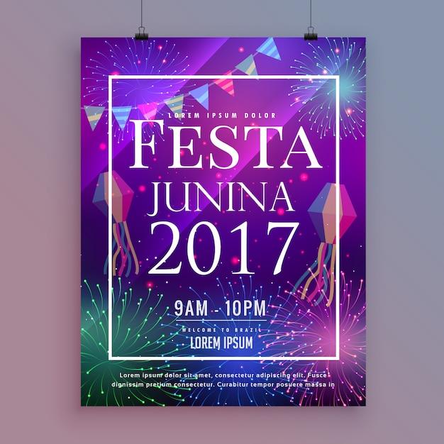 Festa junina party feierfliegerentwurf mit feuerwerken Kostenlosen Vektoren