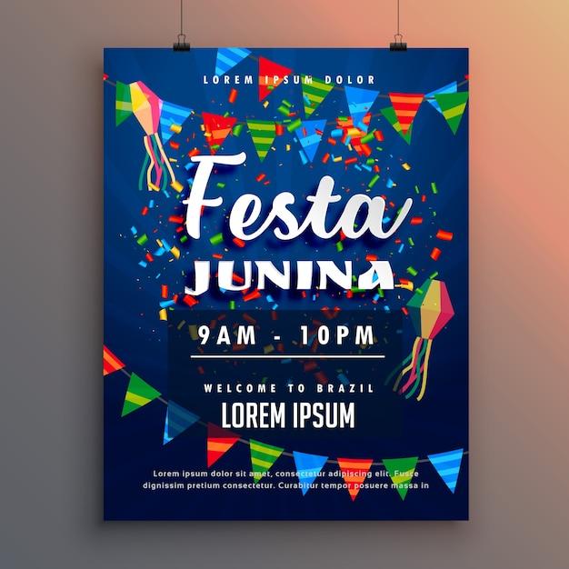 Festa junina party flyer plakat mit konfetti und girlande dekoration Kostenlosen Vektoren