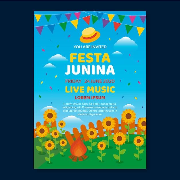 Festa junina vorlage für flyer thema Kostenlosen Vektoren