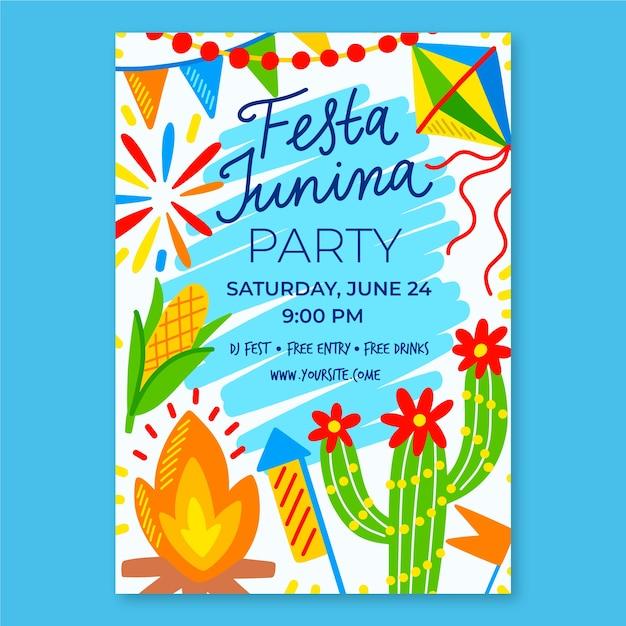 Festa junina vorlage für plakat Kostenlosen Vektoren