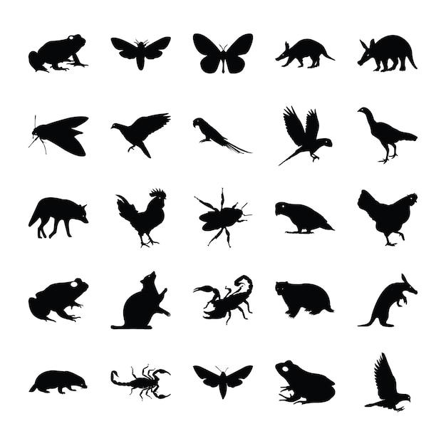 Feste piktogramme von tieren Premium Vektoren