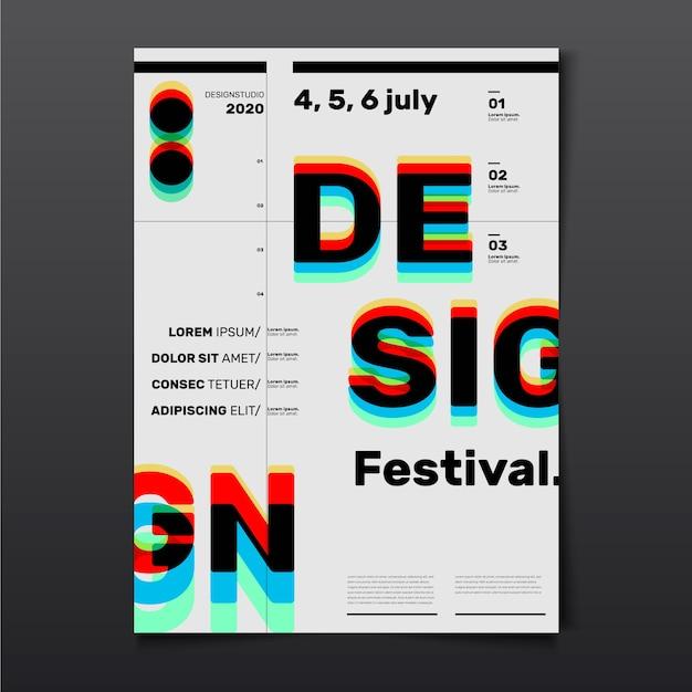 Festival-designplakat mit dem roten cyan-brilleneffekt 3d Kostenlosen Vektoren
