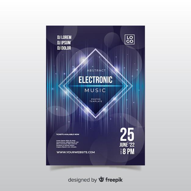 Festival-plakatschablone der elektronischen musik Kostenlosen Vektoren