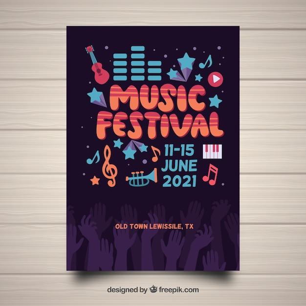 Festival poster vorlage mit handgezeichneten instrumenten Kostenlosen Vektoren