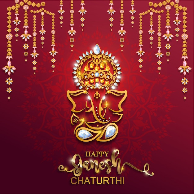 Festival von ganesh chaturthi mit golden glänzendem lord ganesha gemustert und kristallen auf papierfarbe hintergrund. Premium Vektoren