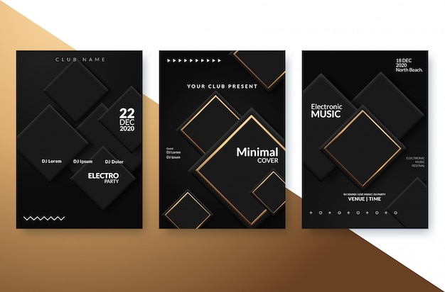 Festival-werbeplakat der elektronischen musik. Premium Vektoren