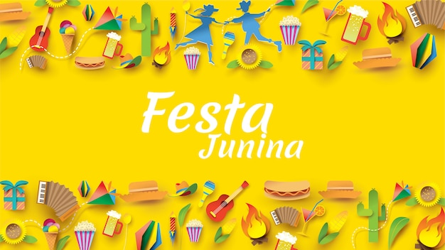 Festivaldesign festa junina auf papierkunst und flachem stil mit party-flaggen und papierlaterne. Premium Vektoren