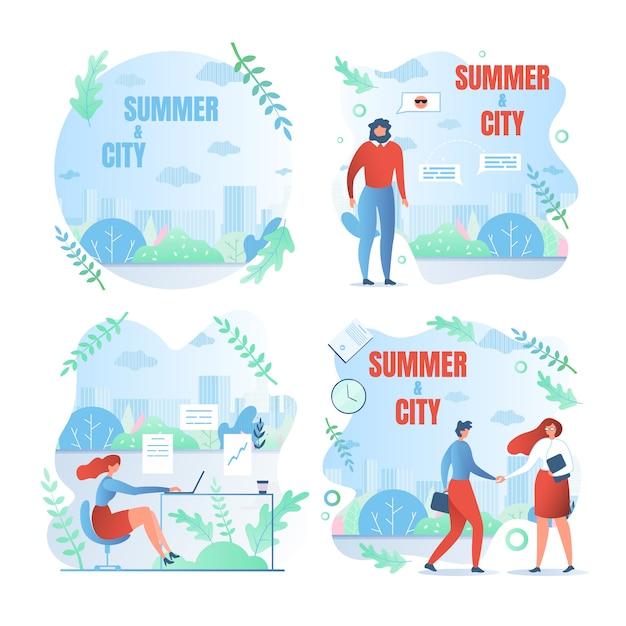 Festlegen der arbeitswochentage, des schriftlichen sommers und der stadt Premium Vektoren