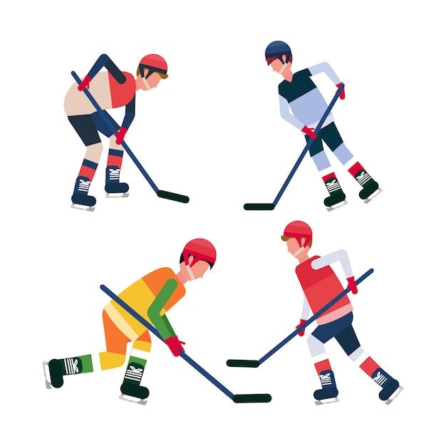 Festlegen sie professionelle eishockey-spieler halten schlittschuhlaufen sportler sammlung männliche zeichentrickfigur in voller länge flach isoliert Premium Vektoren