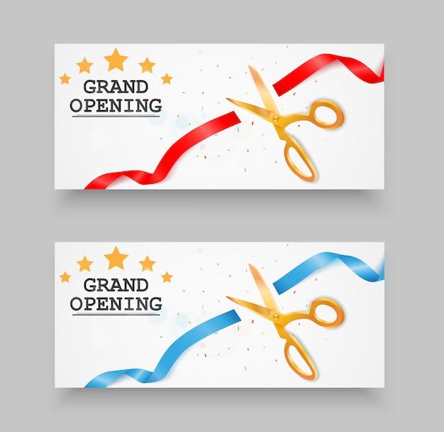 Festliche eröffnung banner mit konfetti und band Premium Vektoren