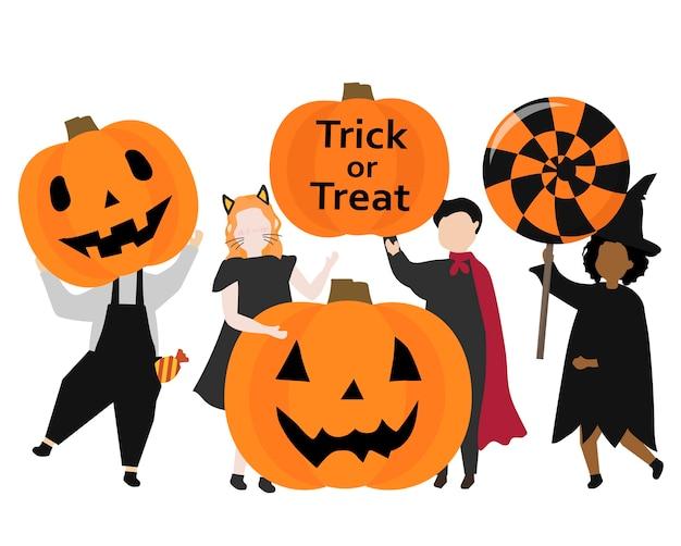Festliche glückliche grafische illustration halloweens Kostenlosen Vektoren