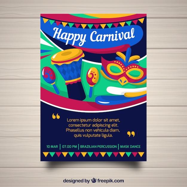 Festliche Karneval Flyer Vorlage Download Der Kostenlosen Vektor
