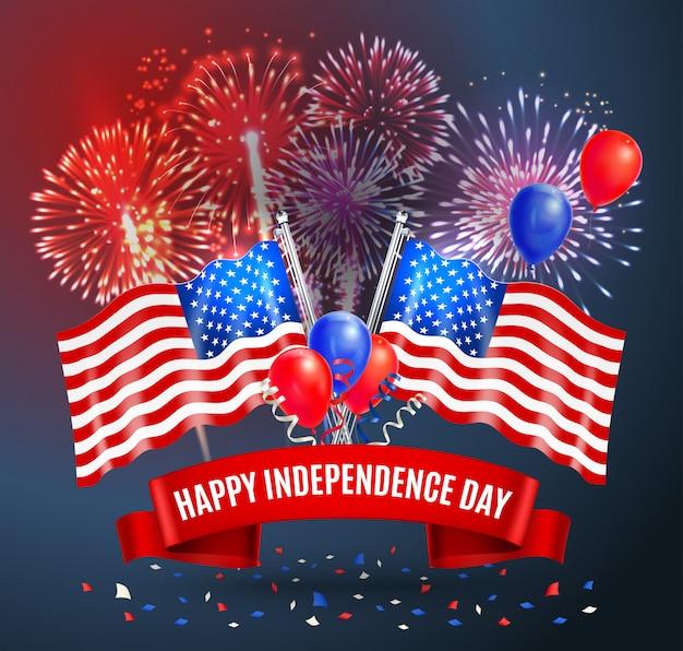 Festliche karte des glücklichen unabhängigkeitstags mit staatsflaggen von usa-ballonen und von realistischer illustration der feuerwerke Kostenlosen Vektoren
