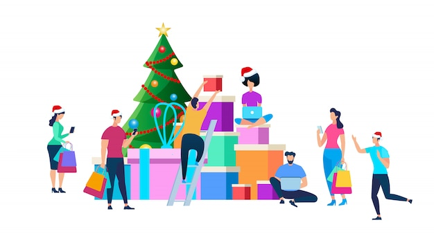 Festliche leute, die für weihnachtsfeier sich vorbereiten Kostenlosen Vektoren