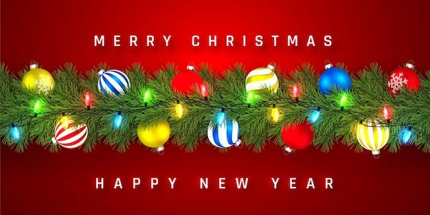 Festliche weihnachts- oder neujahrsgirlande. weihnachtsbaumzweige. urlaub hintergrund. Premium Vektoren