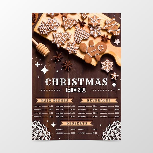 Festliche weihnachtsrestaurant-menüschablone mit foto Kostenlosen Vektoren