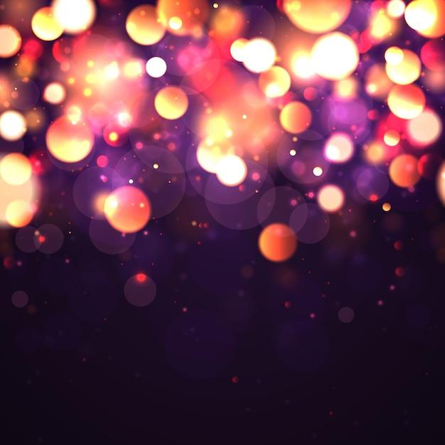 Festlicher lila und goldener leuchtender hintergrund mit buntem lichtbokeh. Premium Vektoren