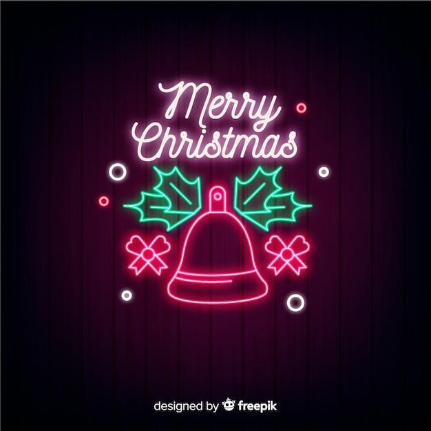 Festlicher weihnachtshintergrund im neon Kostenlosen Vektoren