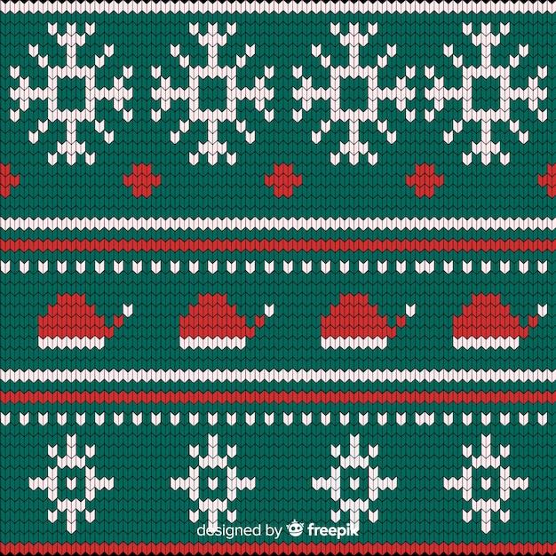 Festliches gestricktes weihnachtsmuster Kostenlosen Vektoren