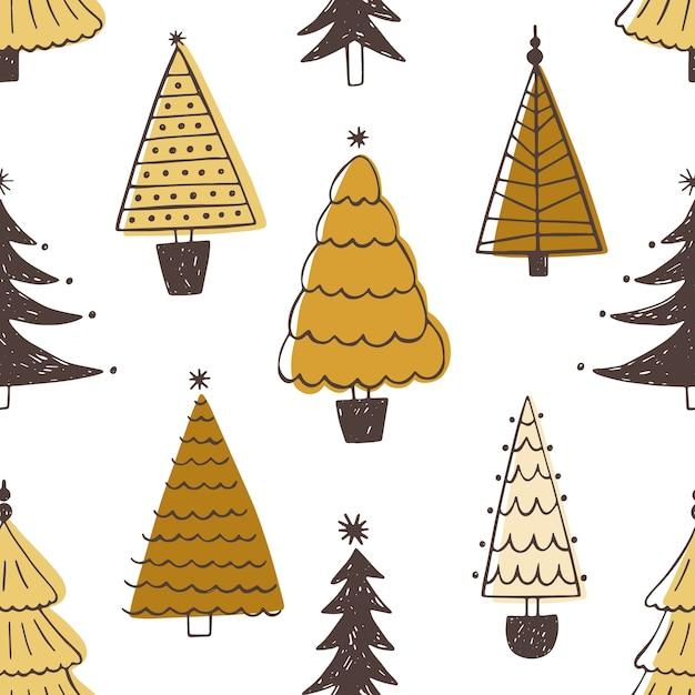Festliches nahtloses muster mit verschiedenen weihnachtsbäumen, tannen oder fichten. Premium Vektoren