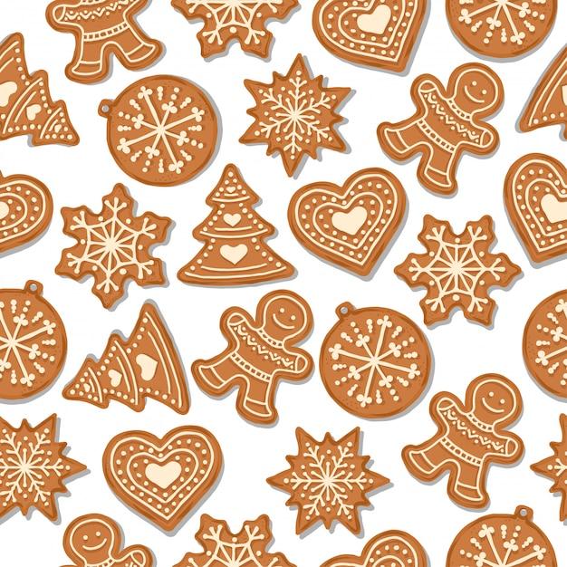 Festliches weihnachtsnahtloses muster mit lebkuchen Premium Vektoren