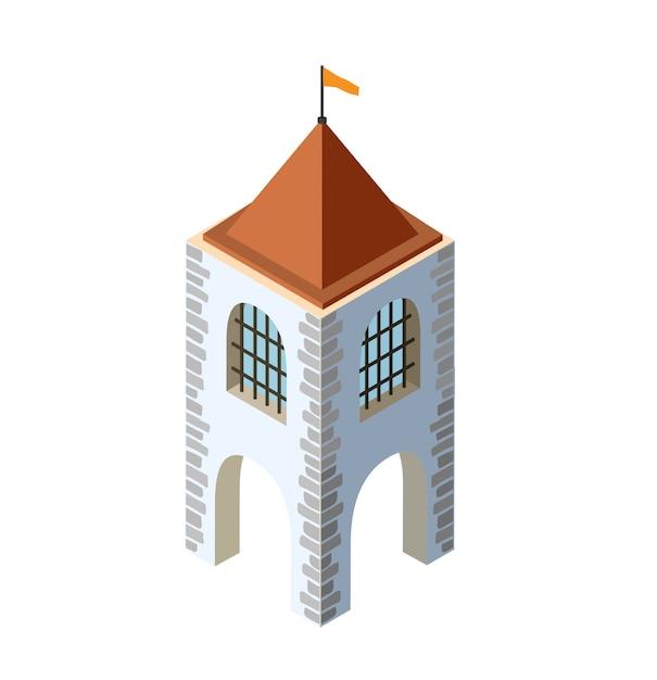 Festungsburg isometrisch Premium Vektoren