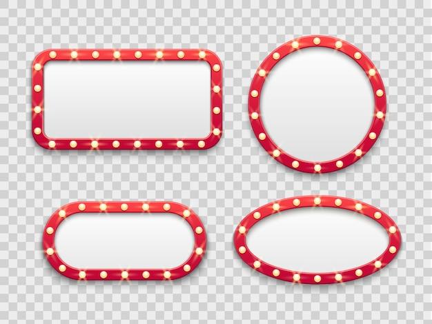 Festzelt lichtrahmen. leere rote zeichen des runden und rechteckigen kinos und des kasinos der weinlese mit birnen. einstellen Premium Vektoren