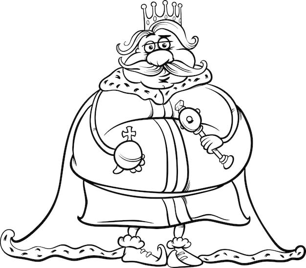 Fetter König Cartoon Färbung Seite | Download der Premium Vektor