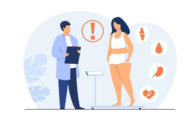 Fetter patient beim arztbesuch Kostenlosen Vektoren