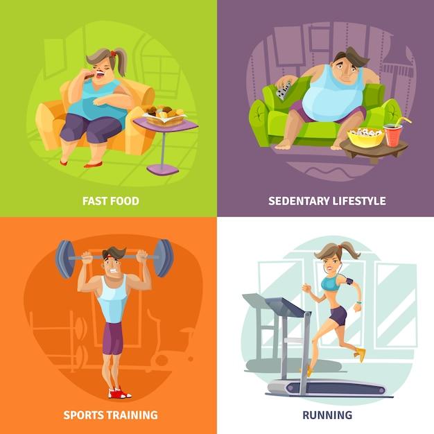 Fettleibigkeit und gesundheits-konzept-ikonen eingestellt Kostenlosen Vektoren