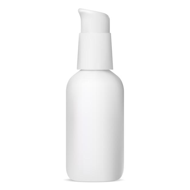Feuchtigkeitscreme kosmetikflasche. serumpumpenverpackung. grundierungscreme mit spender Premium Vektoren