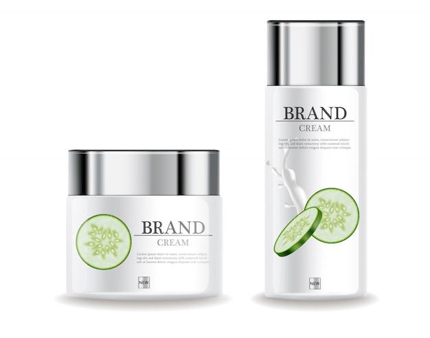 Feuchtigkeitscreme mit gurkencreme Premium Vektoren