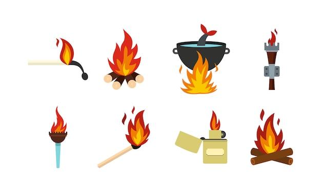 Feuer-icon-set. flacher satz der feuervektor-ikonensammlung lokalisiert Premium Vektoren