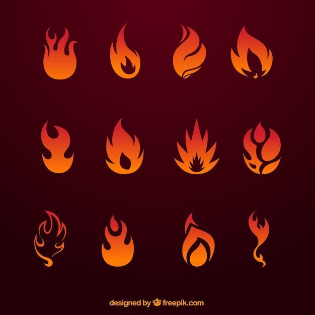 Feuer-ikonen-sammlung Kostenlosen Vektoren