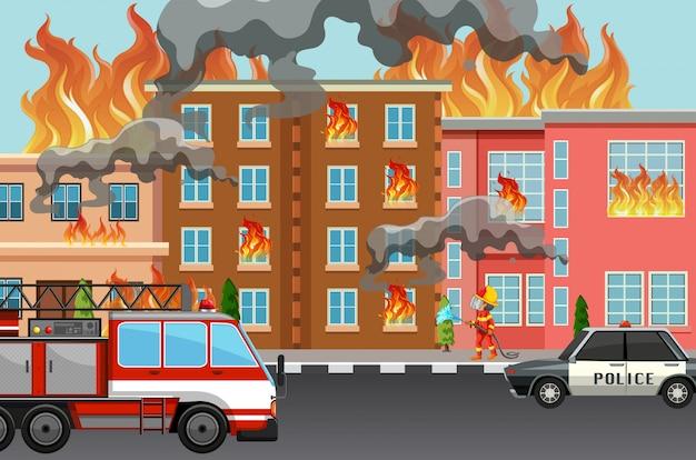 Feuer in der stadt Premium Vektoren