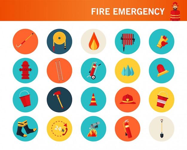 Feuer notfall concept flache symbole. Premium Vektoren