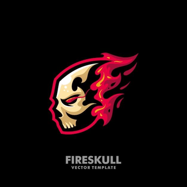 Feuer schädel illustration konzept vektor entwurfsvorlage Premium Vektoren