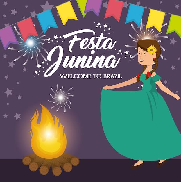 Feuer- und tanzenfrau mit festlicher fahne festa junina-designvektorillustration Premium Vektoren