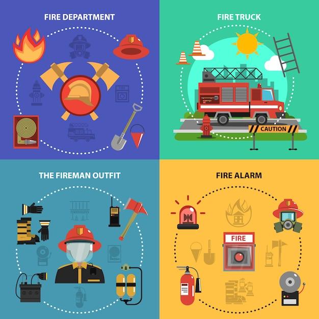 Feuerbekämpfung set Kostenlosen Vektoren