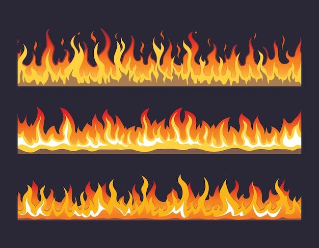 Feuerflamme nahtloses set. verbrenne heiße, warme wärmeenergie, brennbar feurig Kostenlosen Vektoren