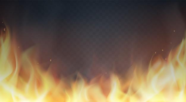 Feuerflammen auf transparentem hintergrund Premium Vektoren